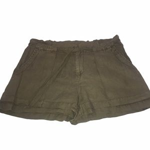Joie 100% Linen Olive Green High Rise Shorts